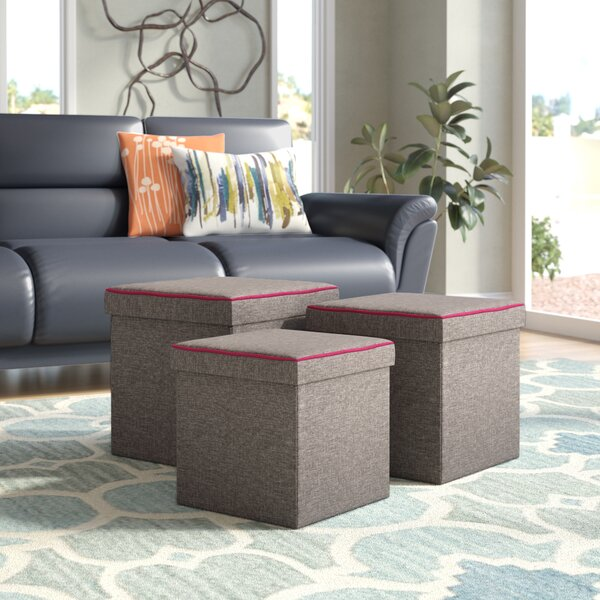 Bromley 3 Piece Storage Ottoman Set by Ebern Designs