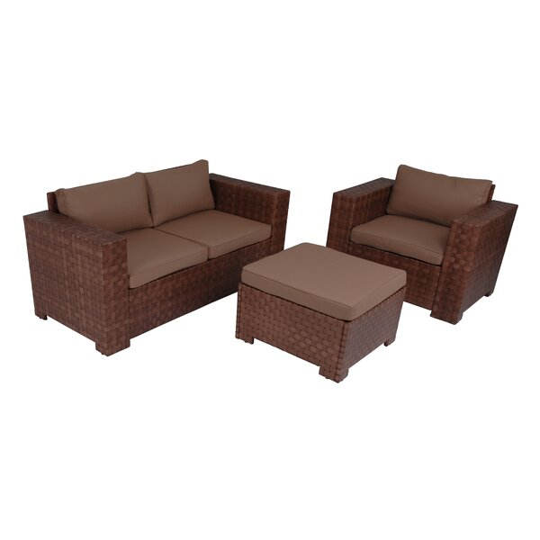 Provo Outdoor 3 Piece Sofa Seating Group with Cushions by Latitude Run