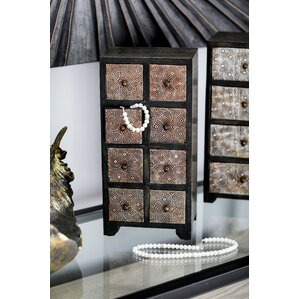 Cima Rustic Mango Wood Rectangular 8-Drawer Vertical Free Standing Jewelry Armoire by Bloomsbury Market