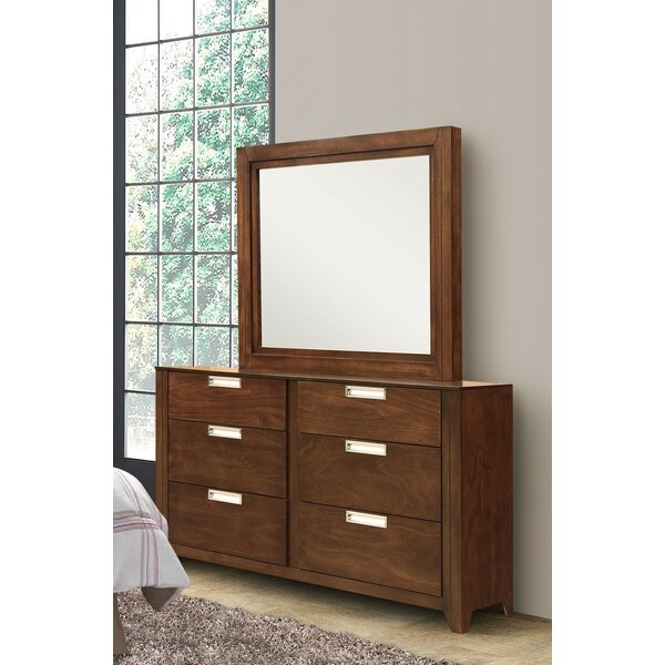 Solar 6 Drawer Double Dresser with Mirror by REZ Furniture