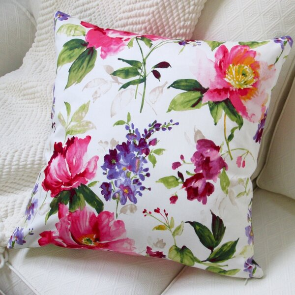Colorful Flowers Cotton Pillow Cover by Artisan Pillows