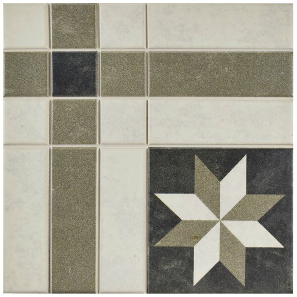 Cien 9.75 x 9.75 Porcelain Field Tile in Black/Tan by EliteTile