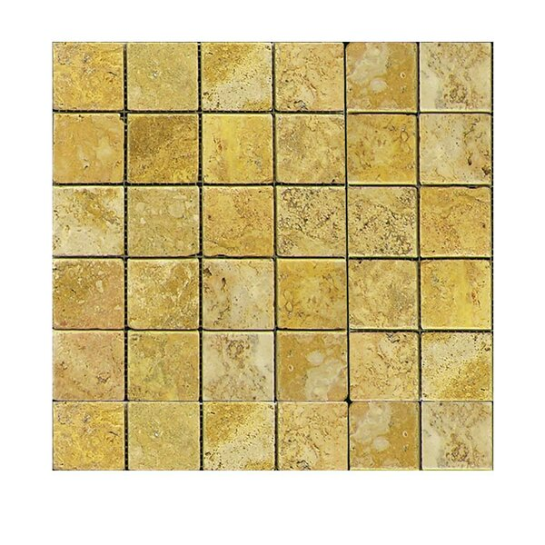 Tumbled 2 x 2 Natural Stone Mosaic Tile in Gold by QDI Surfaces