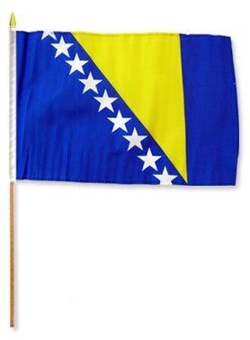 Bosnia & Herzegovina Traditional Flag and Flagpole Set (Set of 12) by Flags Importer