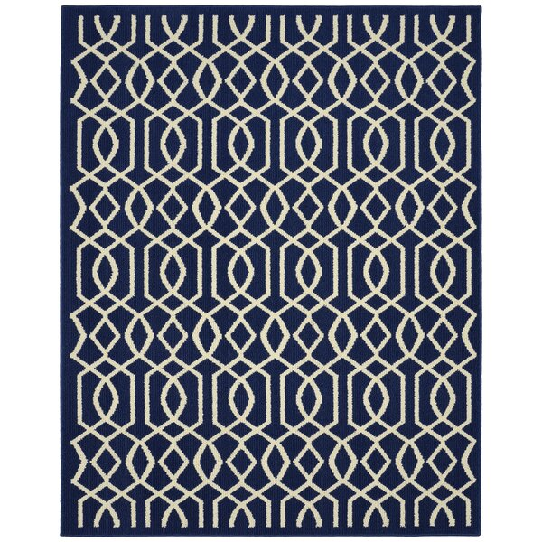 Fretwork Navy/Ivory Area Rug by Garland Rug