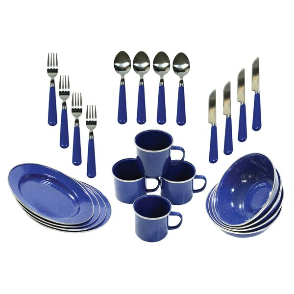 24 Piece Camping Tableware Set, Service for 4 by Stansport