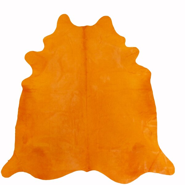 Large Dyed Brazilian Cowhide Orange Area Rug by Chesterfield Leather