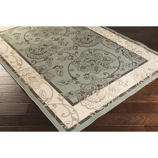 Pearce Moss/Ivory Indoor/Outdoor Area Rug by Charlton Home