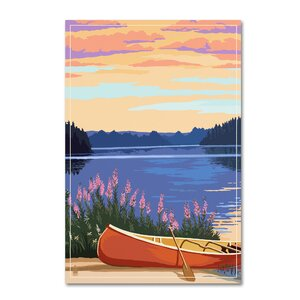 'Lake' Graphic Art Print on Wrapped Canvas by Loon Peak