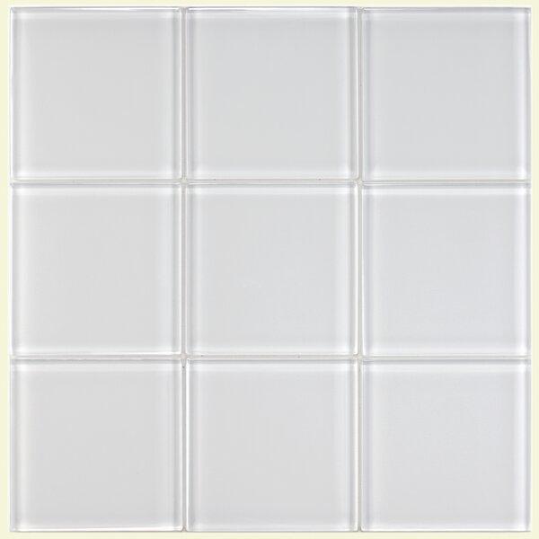 Sierra 4 x 4 Glass Field Tile in Ice White by EliteTile