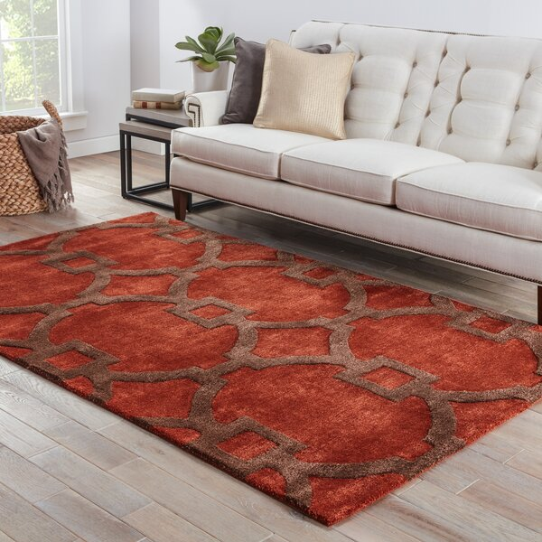 Fiddlewood Hand-Tufted Red Area Rug by Breakwater Bay