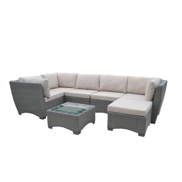 Couto Outdoor Garden 7 Piece Sectional Seating Group with Cushions by Rosecliff Heights