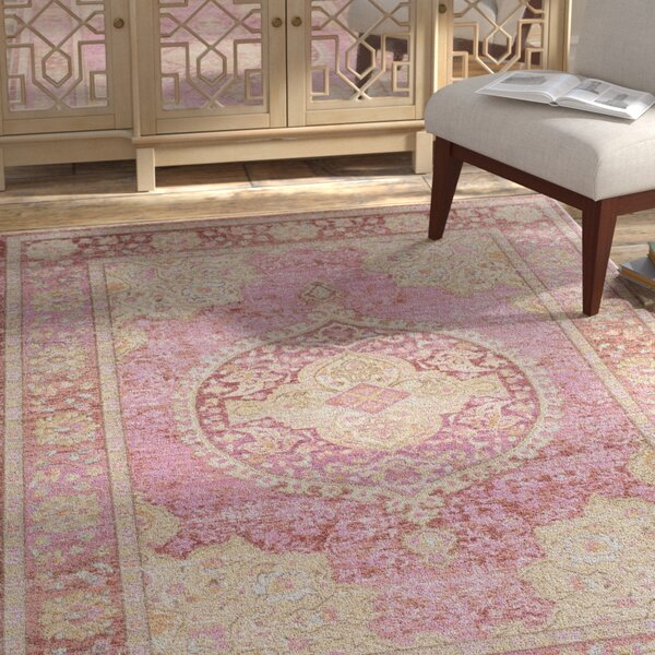 Kahina Vintage Pink/Yellow Area Rug by Bungalow Rose