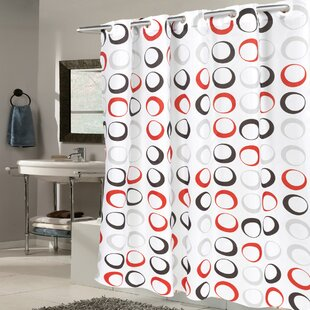 shower curtain brown blended round wooden m white motive curtains hookless pattern fabric cur stool