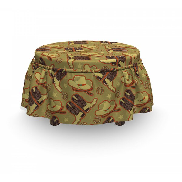 Buy Sale Price Western Vintage Hats And Boots 2 Piece Box Cushion Ottoman Slipcover Set