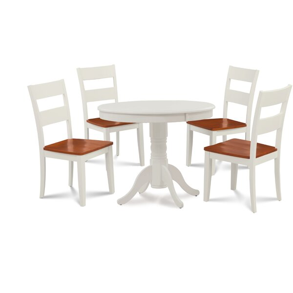 Hopson 5 Piece Solid Wood Dining Set by August Grove