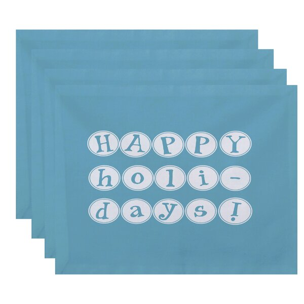 Happy Holidays Print Placemat (Set of 4) by The Holiday Aisle