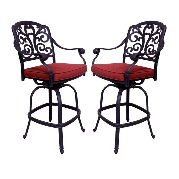 Thurston 46.5 Patio Bar Stool with Cushion by Fleur De Lis Living