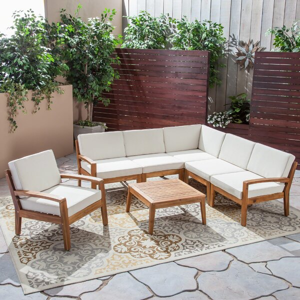 Athenian Outdoor 7 Piece Teak Sectional Seating Group with Cushions by Longshore Tides