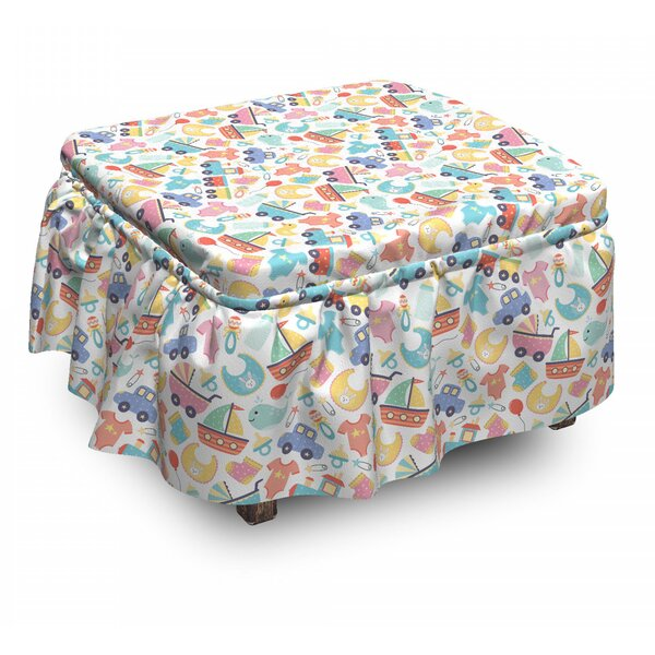 Kids Toys Cartoon Ottoman Slipcover (Set Of 2) By East Urban Home