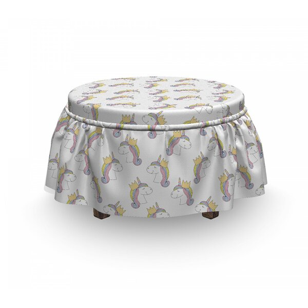 Compare Price Unicorn With A Crown Ottoman Slipcover (Set Of 2)