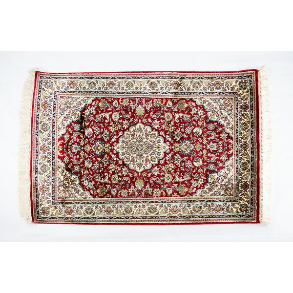 Kashan Style Hand Woven Silk Red/Cream Area Rug by The Silver Teak