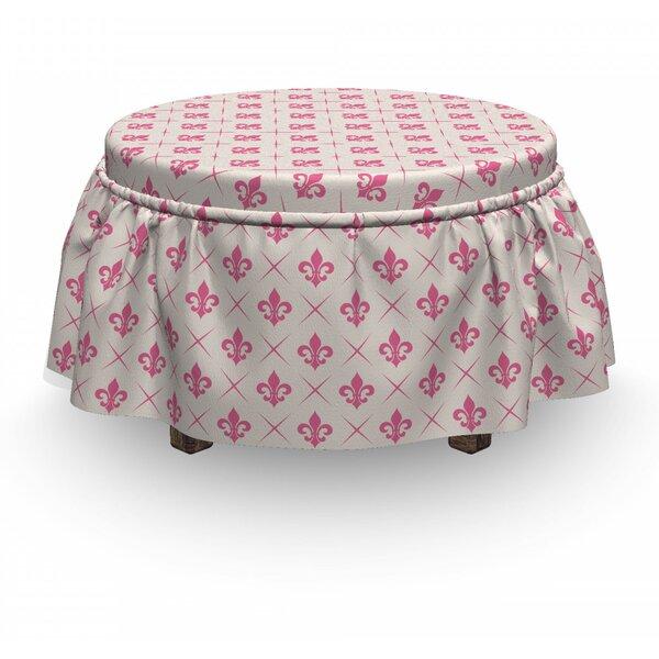 Fleur De Lis Lily Flower 2 Piece Box Cushion Ottoman Slipcover Set By East Urban Home