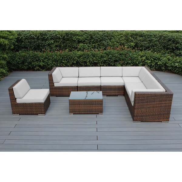 Baril 8 Piece Sunbrella Sectional Set with Sunbrella Cushions by Wade Logan