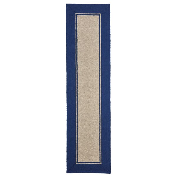 Elam Border Hand-Woven Blue/Beige Indoor/Outdoor Area Rug by Breakwater Bay
