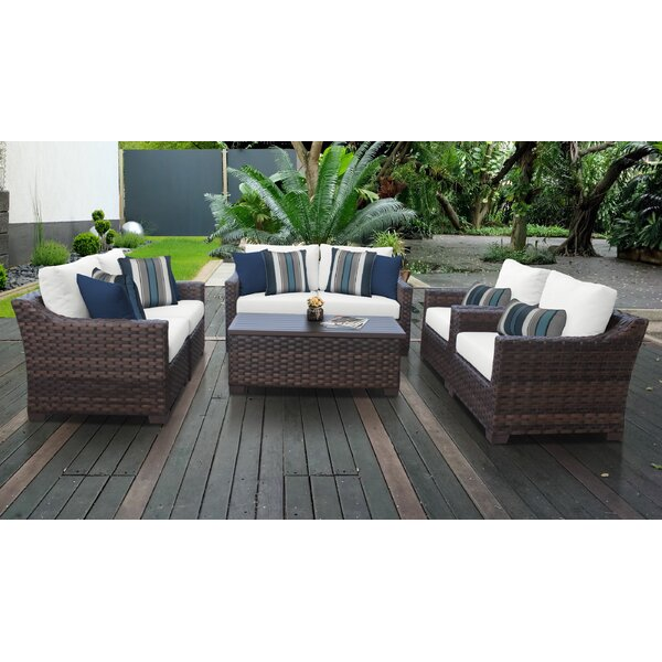 kathy ireland Homes & Gardens River Brook 7 Piece Patio Sofa Seating Group 07e by kathy ireland Homes & Gardens by TK Classics