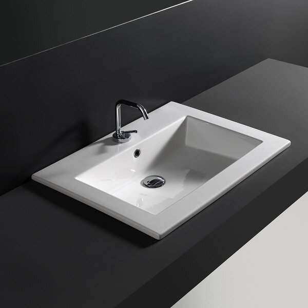 Ceramic Rectangular Drop-In Bathroom Sink with Overflow by WS Bath Collections