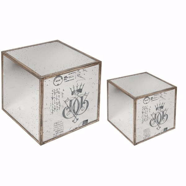 Argens 2 Piece Ideal Mirrored Cube End Table Set by One Allium Way
