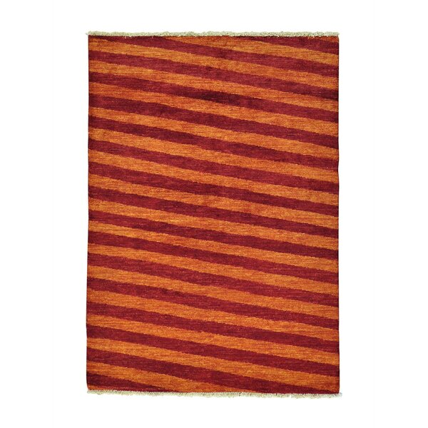 One-of-a-Kind Ferriera Peshawar Oriental Hand-Knotted Red/Orange Area Rug by Latitude Run