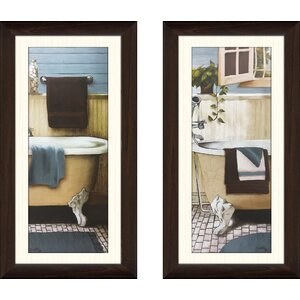 'Blue Bain Panel III' 2 Piece Framed Acrylic Painting Print Set by Gracie Oaks