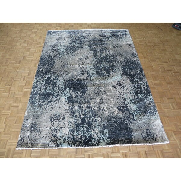 One-of-a-Kind Dickison Modern Abstract Hand-Knotted Wool Black Area Rug by 17 Stories