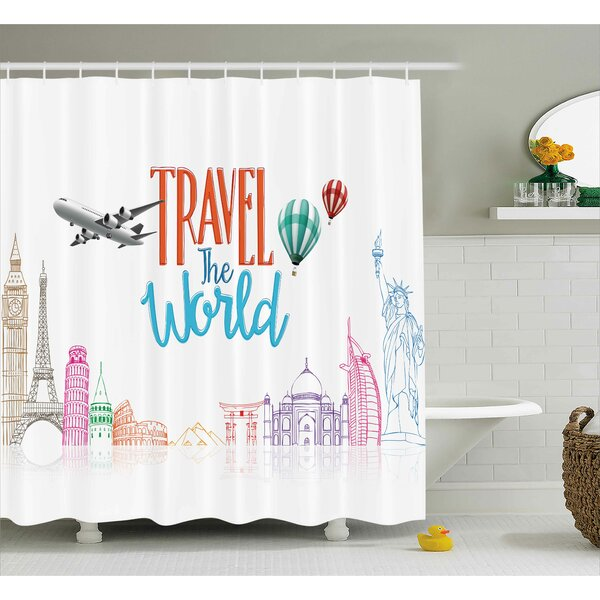 Daniel Quote Travel The World Lettering With Around World Landmarks Balloons Artwork Image Shower Curtain by Ivy Bronx