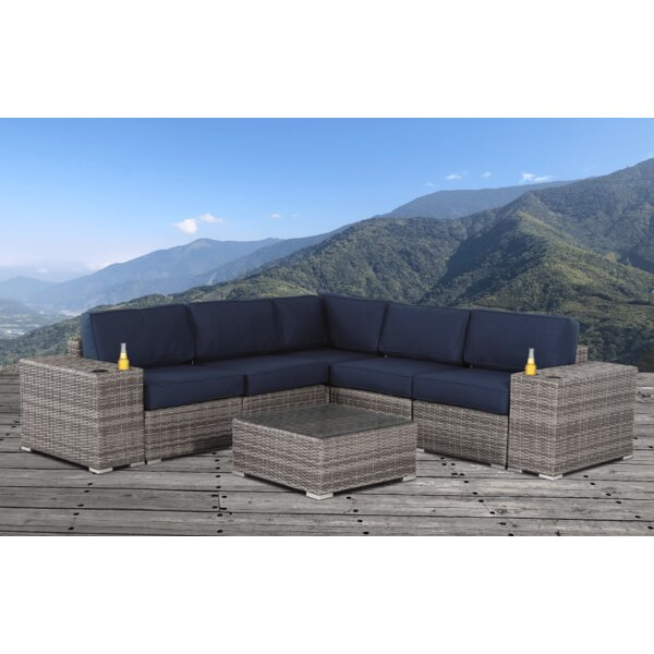 Herlinda Resort Grade Cup Holder 8 Piece Rattan Sunbrella Sectional Seating Group by Sol 72 Outdoor