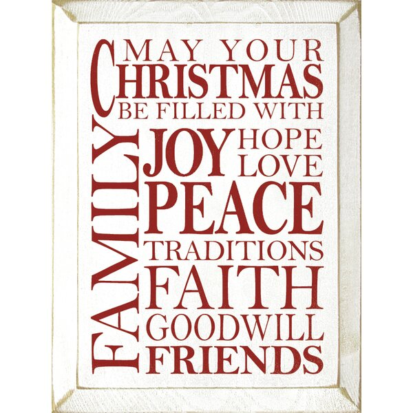 May Your Christmas Be Filled With Joy, Hope, Love, Peace, Traditions Textual Art Plaque by Winston Porter