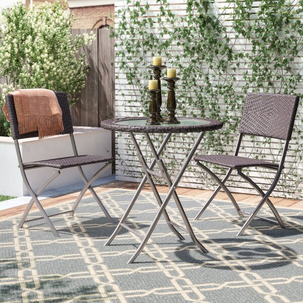 Byington Round Glass Top Table 3 Piece Bistro Set by Andover Mills