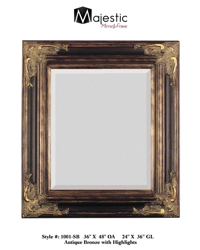 Bronze With Gold Square Antique Framed Beveled Gl Wall Mirror