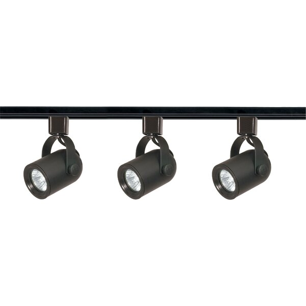 3-Light Line Voltage Round Back Track Kit By Nuvo Lighting.