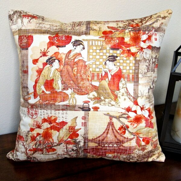High End Asian Far East Oriental Modern Indoor Cotton Throw Pillow by Artisan Pillows