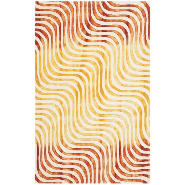 Niki Dip Dyed Ivory/Terracotta Area Rug by Ivy Bronx