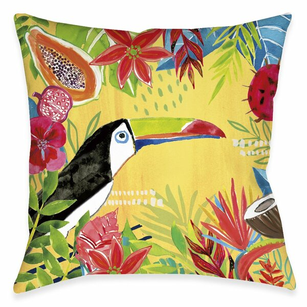 Ravenden Tutti Fruity Toucan Floral Throw Pillow