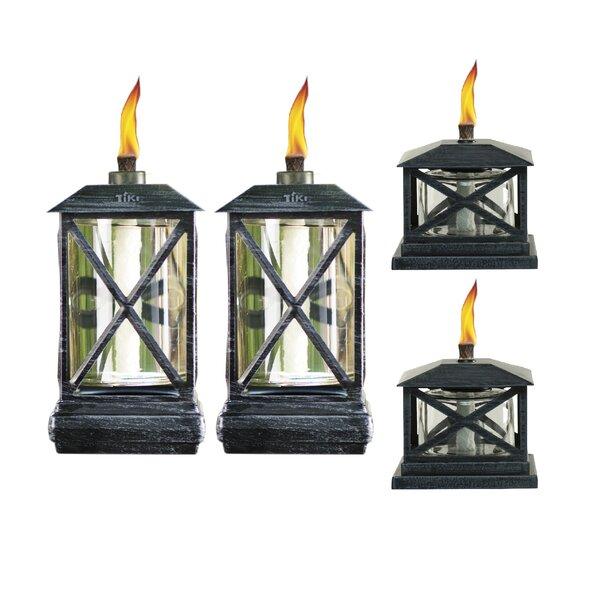 4 Piece Beacon Metal Petite Lantern Tabletop Torch Set by TIKI Brand