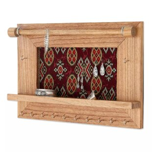 Compare prices Tan Wood Wall Mounted Jewelry Holder By Bloomsbury Market