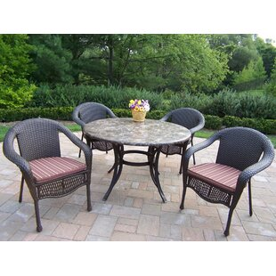 Stone Art Elite Wicker 5 Piece Dining Set with Cushions By Oakland Living