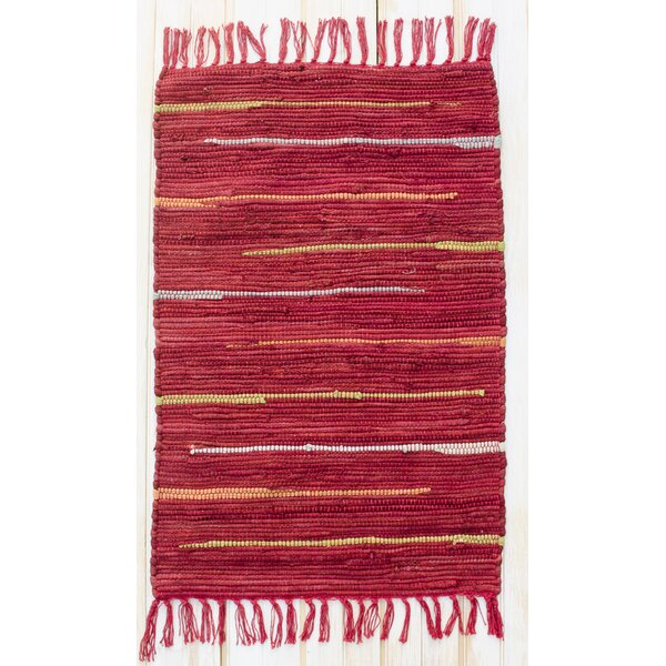 Canyon Hand Woven Cotton Red Area Rug by CLM