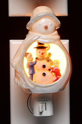 Snowman with Kids Plug in Night Light by Cosmos Gifts