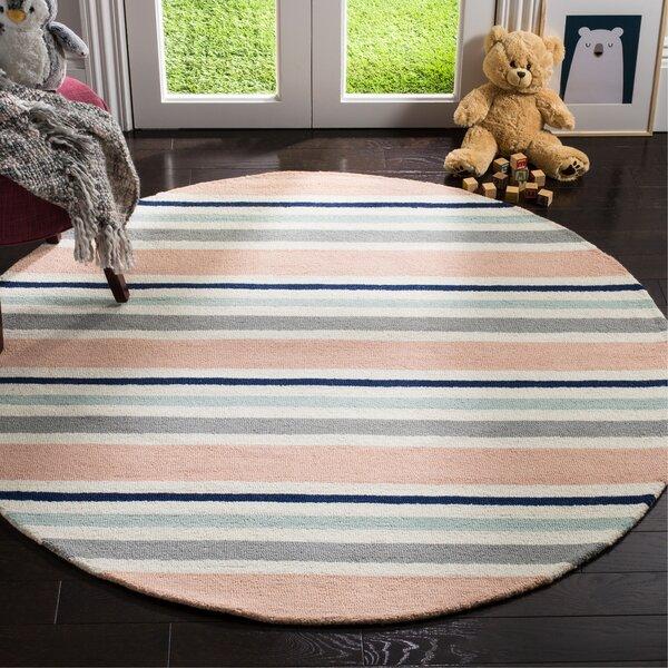 Claro Multi Stripe Handand-Tufted Wool Pink/Gray Area Rug by Harriet Bee